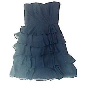 WHBM Dress Formal Black Strapless Ruffles Size 4